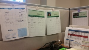My wonky calendar system, because desk calendars don't do it for me!